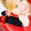 Smiling blond teenager with backpack — Stock Photo