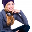 Stock Photo: Smiling woman in winter clothes