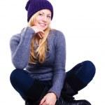 leende kvinna i vinterkläder — Stockfoto