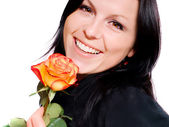 Woman with rose over white — Stock Photo