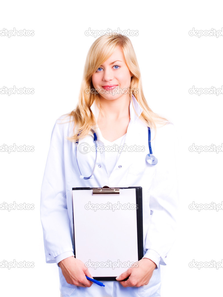 Smiling female doctor with stethoscope holding clipboard over white background — Stock Photo #1854483
