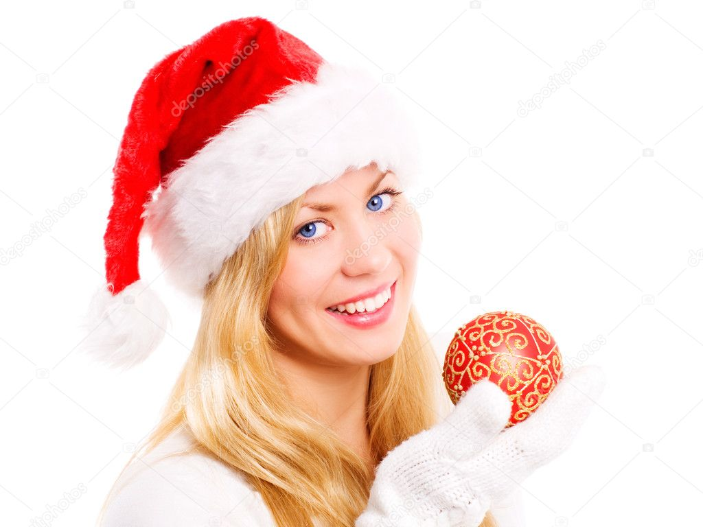 Smiling christmas woman holding glass ball over white background  Stock Photo #1855109