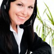 Woman with headphone in office — Стоковое фото
