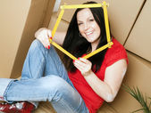 Woman holding measuring tape — Stockfoto