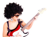 Young woman play guitar over white — Stock Photo