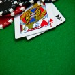 Cards and gambling chips - Stock Photo