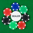 Poker chips arranged in a circle — Stock Photo #1725630