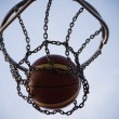 Ball right in basket — Stock Photo
