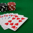 Four aces with poker chips — Stock Photo