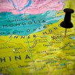 Small pin pointing on Beijing — Stock Photo