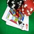 Ace of hearts and black jack — Stock Photo #1725921