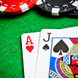 Stock Photo: Ace of hearts and black jack