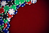 Gambling chips on purple background — 图库照片