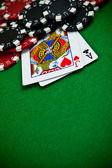 Cards and gambling chips — Stok fotoğraf