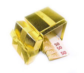 Euro money in golden gift box — Stock Photo