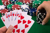 Cards with poker arrangement — Stock Photo