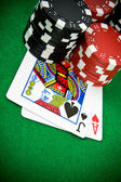 Ace of hearts and black jack — Stock Photo