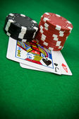 Cards with poker chips — Stock Photo