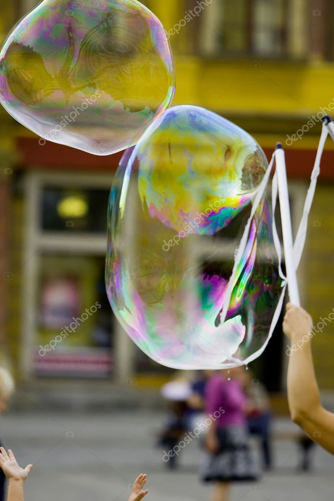 Blowing giant bubbles (street photo) — Stock Photo #1726069