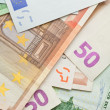 Foto Stock: Euro banknotes background