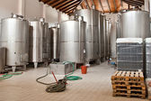 Wine Fermenting in huge vats in a wine cellar — Stock Photo