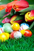 The bunch of tulips with easter eggs in green gr — Photo