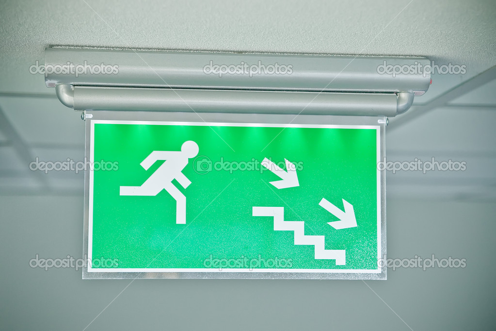 Emergency exit down stairs green sign — Stock Photo © rachwal ...