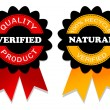 Verified  and natural emblem - Stock Vector