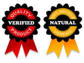 Emblema natural y comprobada — Vector de stock