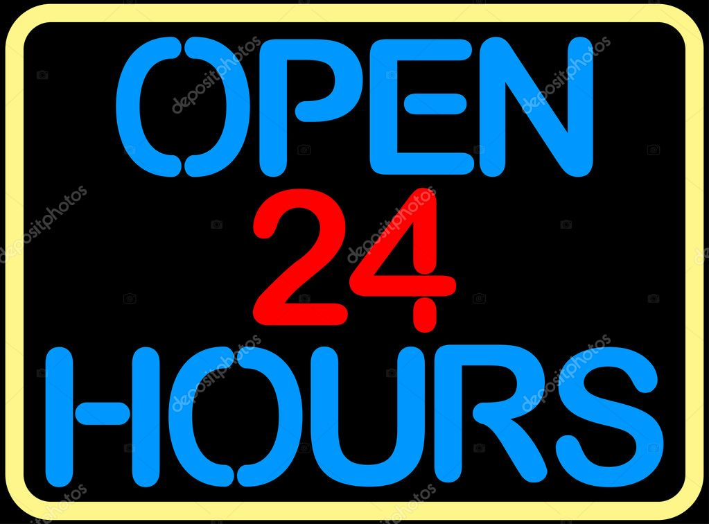 Open 24 hours — Stock Vector #1698945