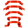 Red shiny ribbons — Vector de stock