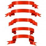 赤い光沢のあるリボン — ストックベクタ