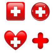Red medical icons — Stock Vector