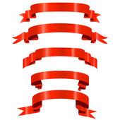 Czerwone wstążki błyszczące — Wektor stockowy