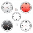 Stock Vector: Chrome clocks