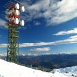 High aerial on top snow mountain — Stock Photo