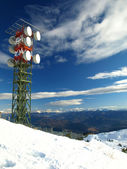 High aerial on top snow mountain — Stok fotoğraf