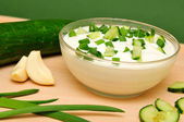 Yoghurt with the cucumber — Stock Photo