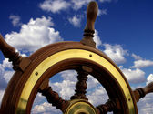 Helm close-up relating to the blue sky — Stock Photo