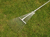 Closeup the rake lying on the grass — Stock Photo