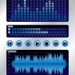 Blue sound mixer - Stock Vector