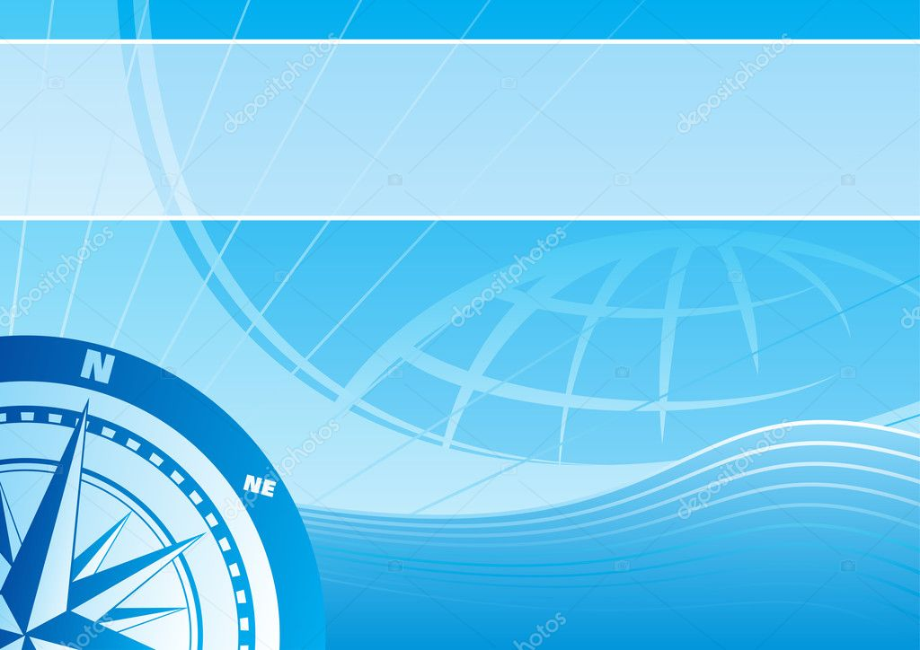 Blue vector background with a compass rose  Imagens vectoriais em stock #1679559