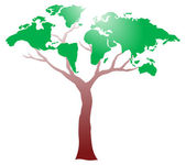 Worldmap on tree — Stock Vector