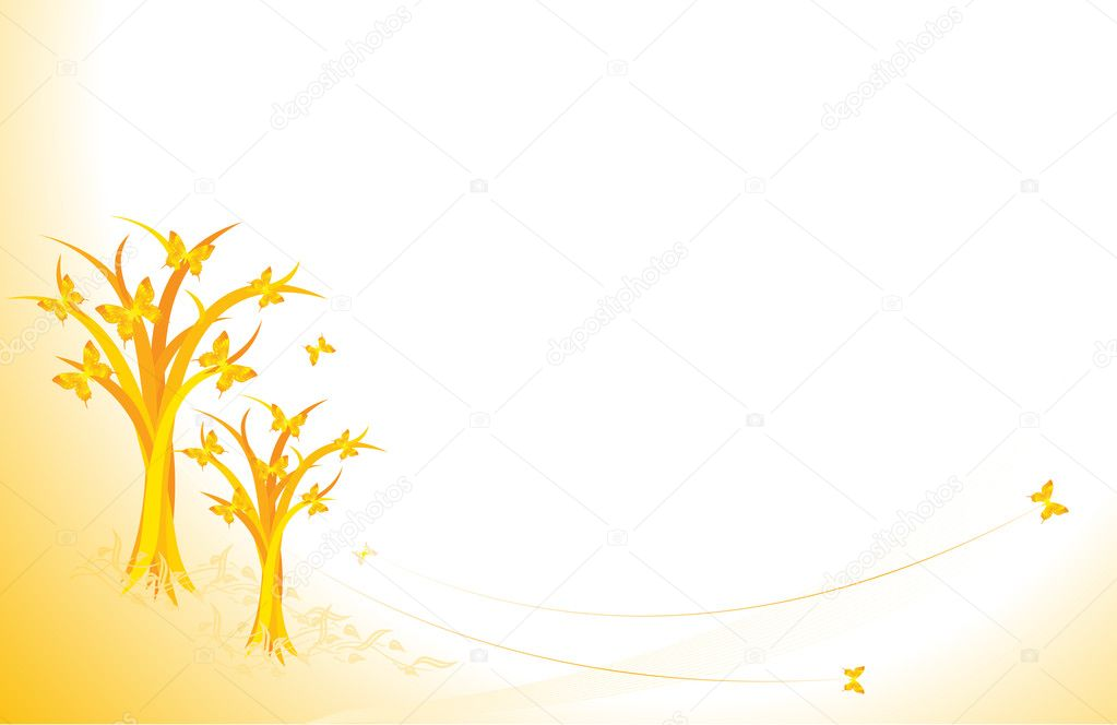 Autumn background with butterflies falling from tries  Stock Vector #1694671