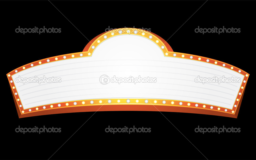Big gold banner for cinema, theater or circus — Stock Vector #2117776