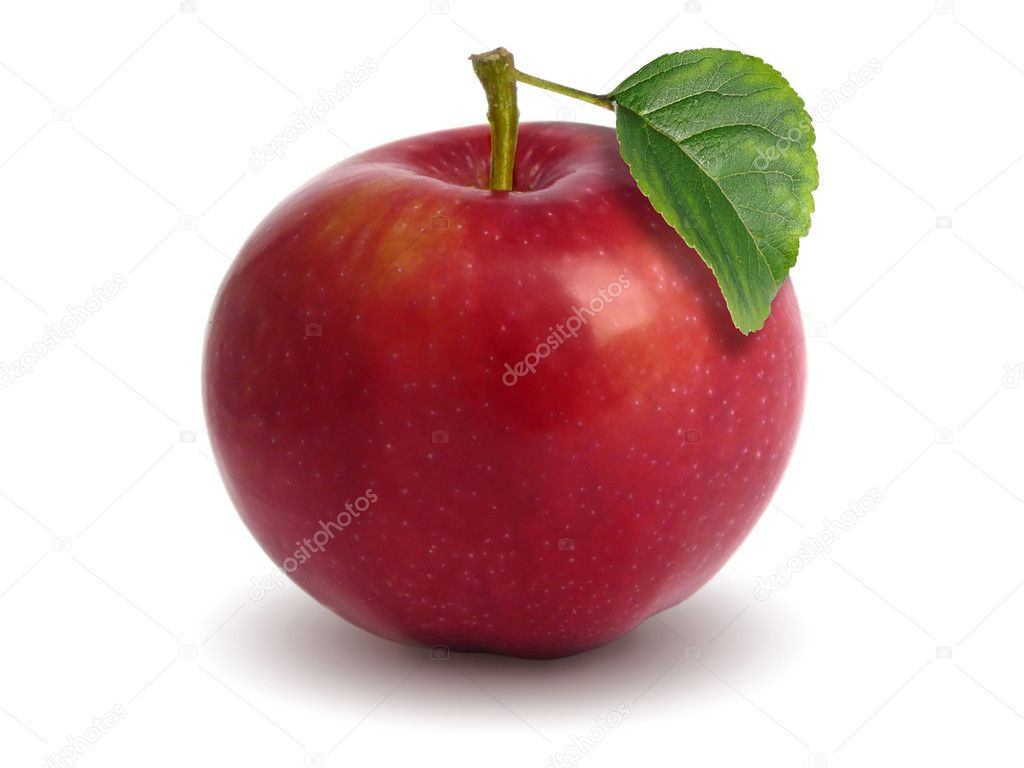 Red apple with green leaf isolated — Stock Photo #2168706