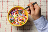 Bowl with Pills — Stock Photo