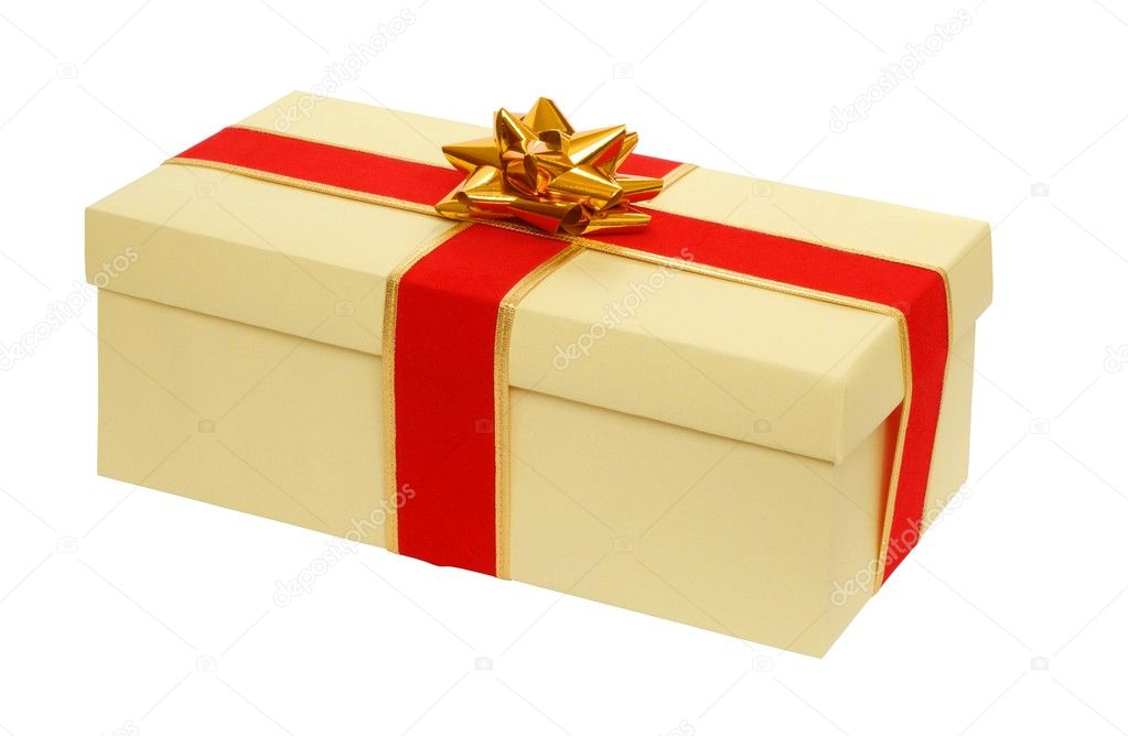 Gift box with red ribbon isolated on white — Stock Photo #1782385