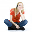 Girl listening music from mp3 player. — Stock Photo #1598745