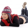 Girl in winter cap and mittens — Stockfoto